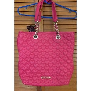 Pink Betsy Johnson Heart Quilted Tote Bag